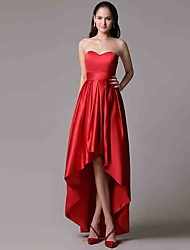 Formal Evening Dress A-line Sweetheart Asymmetrical Satin with Pleats