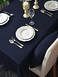 Dark Blue Rectanglar Tablecloth Heavy Weight Fabric  Elegant Cotton  Solid Natural Color Thanksgiving  Dining Room