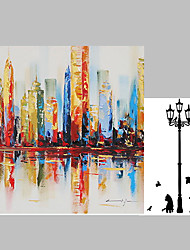 Impression City View Acrylic Paintings Canvas Art Wall Decor 36 inches Stretchered for Living Room and Free Wall Sticker