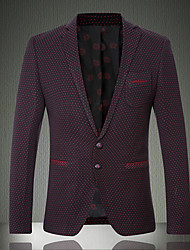 Men's Solid Work / Formal Blazer,Cotton Long Sleeve Red