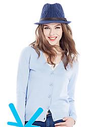 Normal Cardigan Femme Décontracté / Quotidien simple,Couleur Pleine Bleu / Rose / Rouge / Blanc / Beige / Noir / Gris / Violet Col en V
