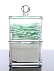 Acrylic Cotton Swab Organizer Box Portable Round Container Storage Case Make up Cotton Box For Home Hotel Office