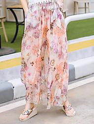 Pantalon Aux femmes Large simple Coton Micro-élastique