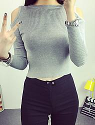 Damen Kurz Pullover-Ausgehen / Lässig/Alltäglich Einfach Solide Rot / Weiß / Schwarz / Grau Rundhalsausschnitt Langarm Baumwolle Herbst