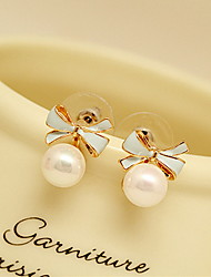 Women's Fashion Cute Style Pearl Alloy Oval Bowknot Jewelry For Daily