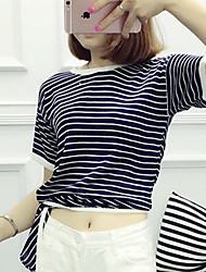 Women's Casual/Daily Simple Regular Pullover,Striped Multi-color Round Neck Short Sleeve Rayon Summer Medium