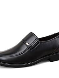 Черный Коричневый-Мужской-Для офиса-Кожа-На низком каблукеТуфли на шнуровке