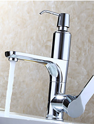 Bathroom Basin Faucet, Single Handle Chrome Deck Mounted Sink Mixer With Soap Liquid Device