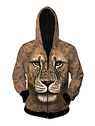 3D  Hoodie Long Sleeve Inspired by  Lion Anime Cosplay Costumes Cosplay Tops/Bottoms Print Yellow Long Sleeve Coat