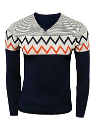Men's Patchwork Casual Pullover,Wool Long Sleeve Black / Blue / Red