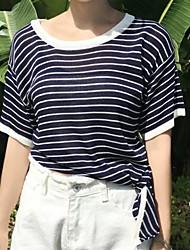Damen Lang Pullover-Lässig/Alltäglich Einfach Gestreift Blau Rundhalsausschnitt ½ Länge Ärmel Baumwolle Sommer Mittel