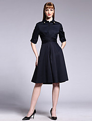 Boutique S Going out / Casual/Daily/ Cute Sheath Dress,Solid Shirt Collar Knee-length ½ Length Sleeve Blue Cotton