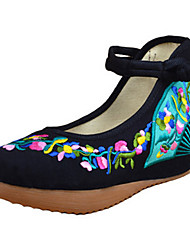 Women's Shoes Canvas Spring / Summer / Fall Mary Jane / Comfort Flats Casual Flat Heel Buckle Flower Red White Walking