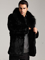 Men's Solid Casual / Plus Sizes Trench coat,Faux Fur Long Sleeve-Black
