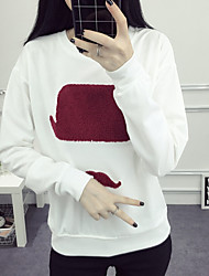 Women's Going out // Street chic Regular Hoodies,Print White Round Neck Long Sleeve Cotton Spring / Fall