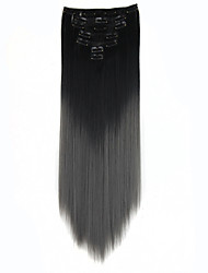 "HOT 130g/7pcs/24"" Clip in Hair Extensions Heat Resistant Hairpieces Ombre Hair Extensions Straight Long Black-Dark Grey"