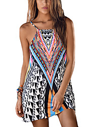 Women's Going out / Beach Sexy Loose Dress,Print Strap Above Knee Sleeveless Black Polyester Summer Print Randomly