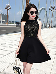 Women's Going out Cute Lace Dress,Solid Halter Above Knee Sleeveless White / Black Polyester Summer
