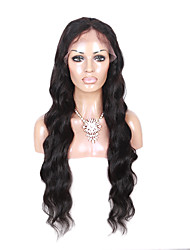 10-28 Inch Long Body Wave Wigs 100% Human Hair Full Lace Wigs Natural Black Color 130% Density