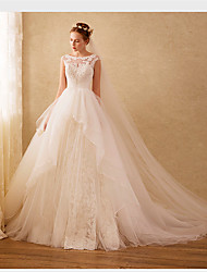 Ball Gown Scoop Sweep / Brush Train Organza Wedding Dress with Beading