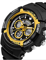 SANDA Hommes Montre de Sport Montre numérique LCD Calendrier Etanche Double Fuseaux Horaires penggera Lumineux ChronomètreQuartz