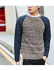 Men's Patchwork Casual Pullover,Wool Long Sleeve Gray