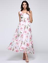 Women's Party/Cocktail Dress,Print U Neck Maxi Sleeveless Multi-color Summer