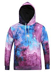 Men's Print Casual / Sport Pocket Hoodie Long Sleeve Galaxy Sky Print Hoodie
