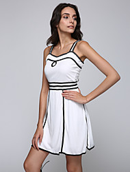 Women's Party/Cocktail Sexy Skater Dress,Patchwork Round Neck Above Knee Sleeveless White Polyester Summer
