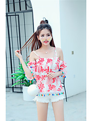 Women's Going out / Casual/Daily Simple / Cute Summer Blouse,Floral Boat Neck Short Sleeve Blue / Red Cotton Thin