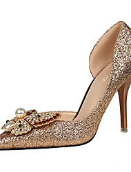 Women's Heels Summer Heels / Pointed Toe / Closed Toe Leatherette Dress Stiletto Heel Bowknot / Sparkling Glitter Rose Gold