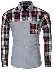 Men's Striped / Patchwork / Color Block Casual Shirt,Cotton Long Sleeve Blue / Green / Gray