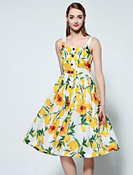 mulheres de terra de sonho de sair / vestido do vintage feriado, correia floral na altura do joelho sem mangas amarelo