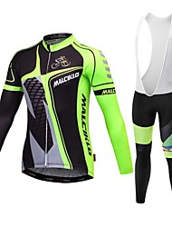Malciklo Cycling Jersey with Bib Tights Men's Long Sleeve Bike Jersey Bib TightsQuick Dry Front Zipper Wearable High Breathability