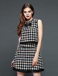 Boutique S Women's Going out Vintage Spring Set SkirtCheck Crew Neck Sleeveless Black Cotton / Polyester