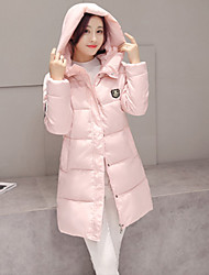 Women's Loose Thin Solid Pink / Red / Black / Green Long Down Coat,Street chic Hooded Long Sleeve