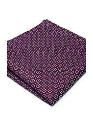 100% Silk Purple Checked New Men's Pocket Square Dress Business Jacquard Woven For Men Handkerchief