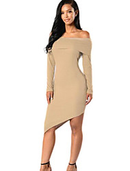 Women's Casual/Daily Sexy / Simple Bodycon Backless Dress,Solid Boat Neck Asymmetrical Long Sleeve