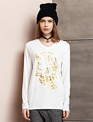 Damen Druck Einfach Ausgehen T-shirt,Rundhalsausschnitt Sommer Langarm Weiß / Schwarz Kunstseide / Polyester Dünn