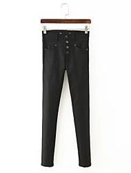 Pantalon Aux femmes Slim / Mince simple Coton / Lin Micro-élastique