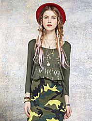 Damen Druck Einfach Ausgehen T-shirt,Rundhalsausschnitt Sommer Langarm Grün Kunstseide / Elasthan Dünn