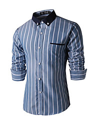 Men's Striped Casual / Work Shirt,Cotton Long Sleeve Blue / Gray
