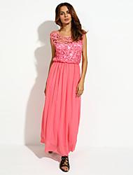 Women's Sexy Casual Lace Cute Maxi Plus Sizes Inelastic Sleeveless   Dress (Chiffon/Lace)
