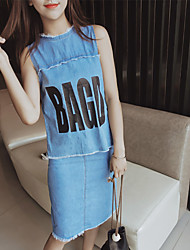 SET Women's Casual/Daily Street chic Summer Set,Solid Crew Neck Sleeveless Blue Cotton Thin
