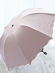 Lotus Leaf Edge Stripe Arched Folding Seventy Percent Off Full Light Shielding And Anti Ultraviolet Umbrella