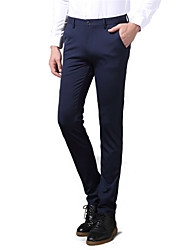 Men's Solid Casual / Work / Formal Suits,Cotton Black / Blue