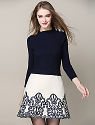 Boutique S Women's Going out Chinoiserie Sweater Dress,Embroidered Crew Neck Above Knee Long Sleeve Blue / White