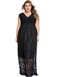 Women's  Sexy V Neck Floral Lace Maxi Skirt Plus Dress