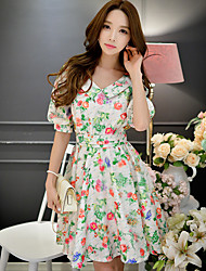 Women's Going out / Beach / Holiday Vintage / Boho Swing / Skater Dress,Floral Above Knee Short Sleeve