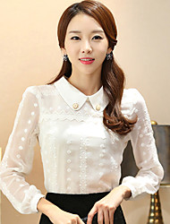 Women's Casual/Daily Simple Spring Shirt,Solid Shirt Collar Long Sleeve White Cotton Medium
